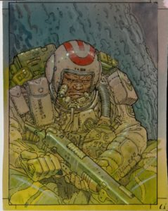 Moebius - original painted card (#59) - Space Trooper